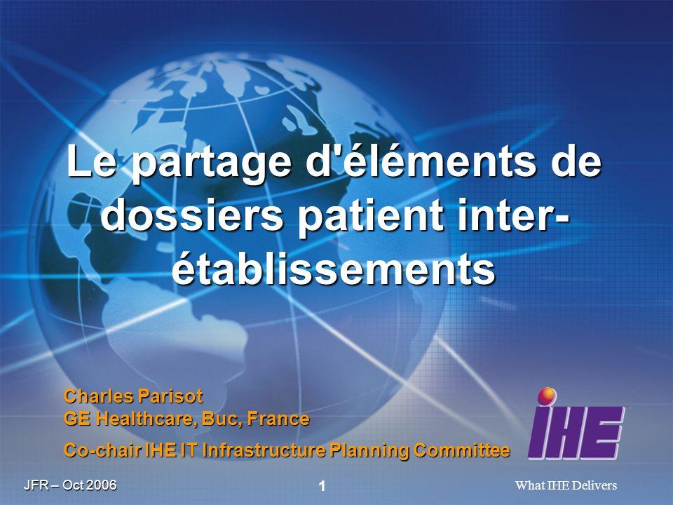 JFR – Oct 2006 What IHE Delivers 2 Travaux d IHE pour le partage d information d Imagerie : IHE-XDS-I et DICOM.