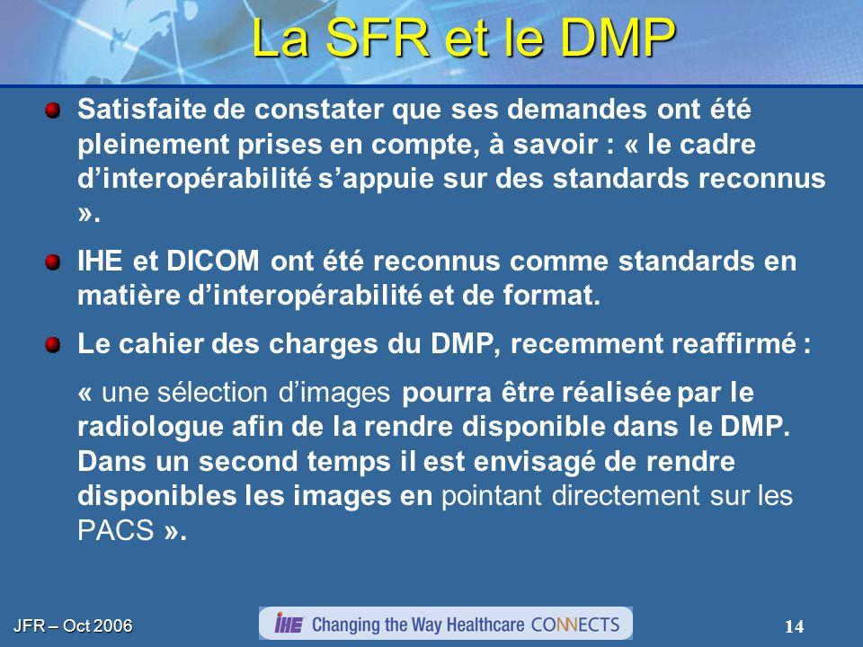 JFR – Oct 2006 14 La SFR et le DMP Satisfaite de constater que ses demandes ont été pleinement prises en compte, à savoir : « le cadre dinteropérabili