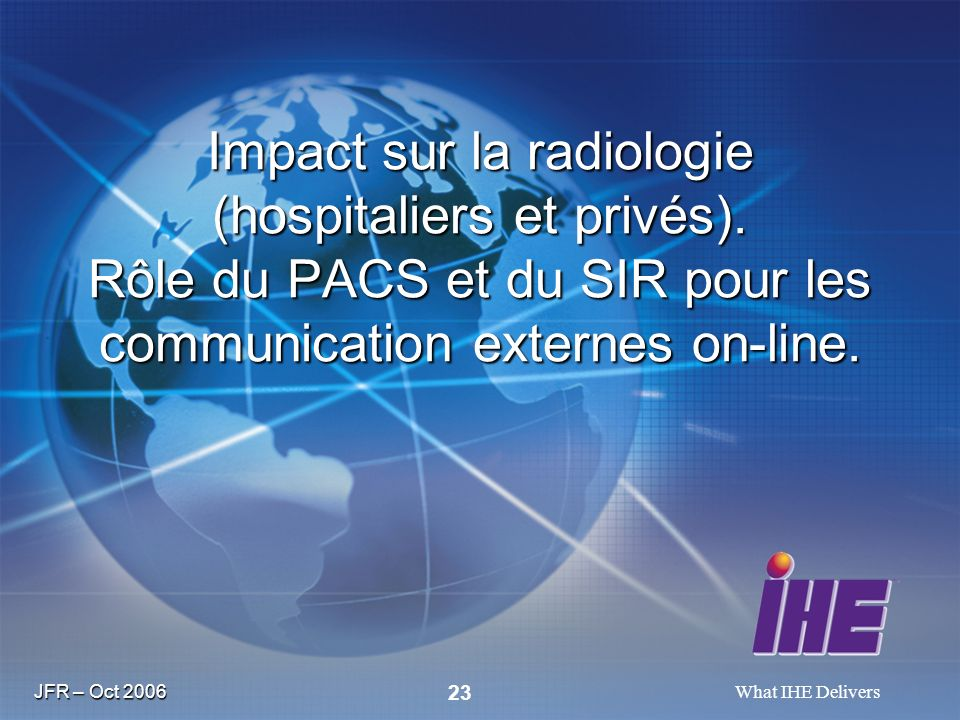 JFR – Oct 2006 What IHE Delivers 23 Impact sur la radiologie (hospitaliers et privés). Rôle du PACS et du SIR pour les communication externes on-line.