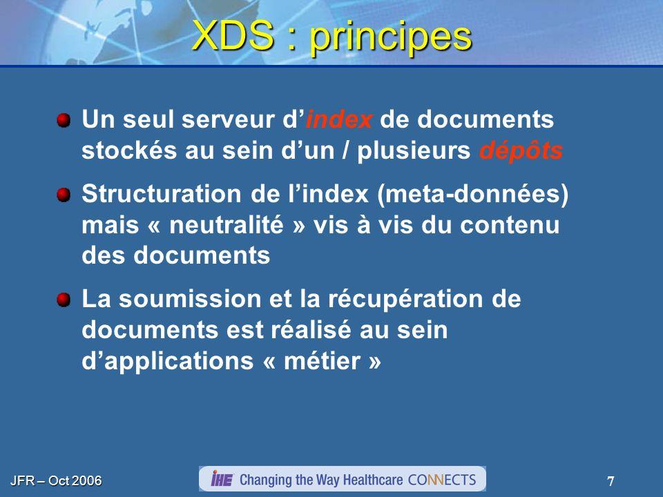 JFR – Oct 2006 7 XDS : principes Un seul serveur dindex de documents stockés au sein dun / plusieurs dépôts Structuration de lindex (meta-données) mai