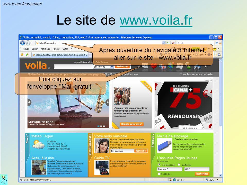 www.torep.fr/argenton Le site de www.voila.frwww.voila.fr Après ouverture du navigateur Internet, aller sur le site : www.voila.fr Puis cliquez sur l enveloppe Mail gratuit