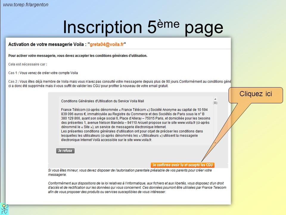 www.torep.fr/argenton Inscription 5 ème page Cliquez ici