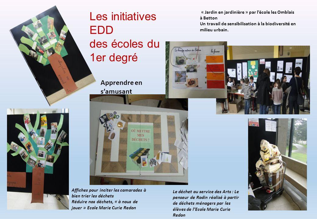 Les initiatives EDD des écoles du 1er degré Le déchet au service des Arts : Le penseur de Rodin réalisé à partir de déchets ménagers par les élèves de
