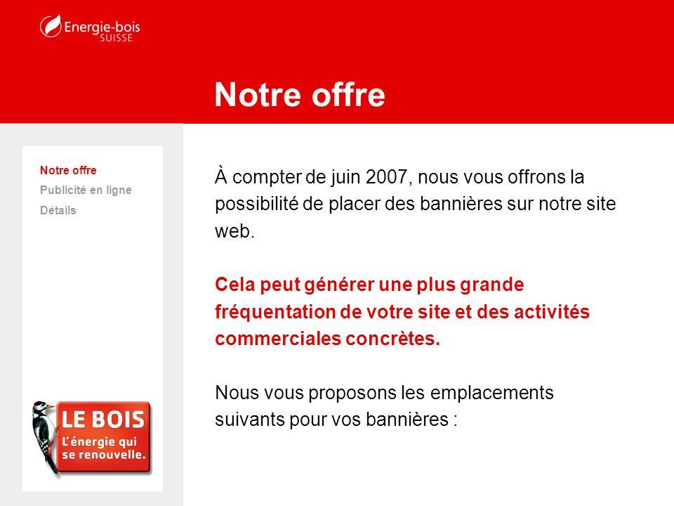Statistiques web Détails Notre offre Publicité en ligne Détails