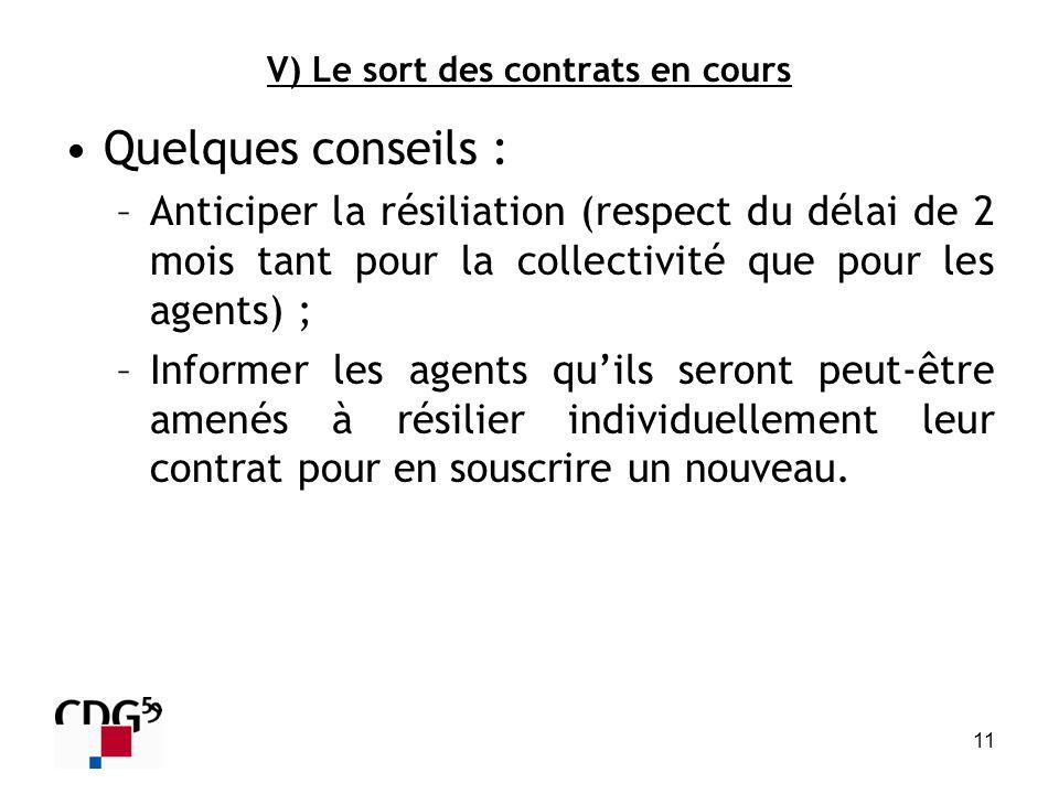 11 V) Le sort des contrats en cours Quelques conseils : –Anticiper la résiliation (respect du délai de 2 mois tant pour la collectivité que pour les a