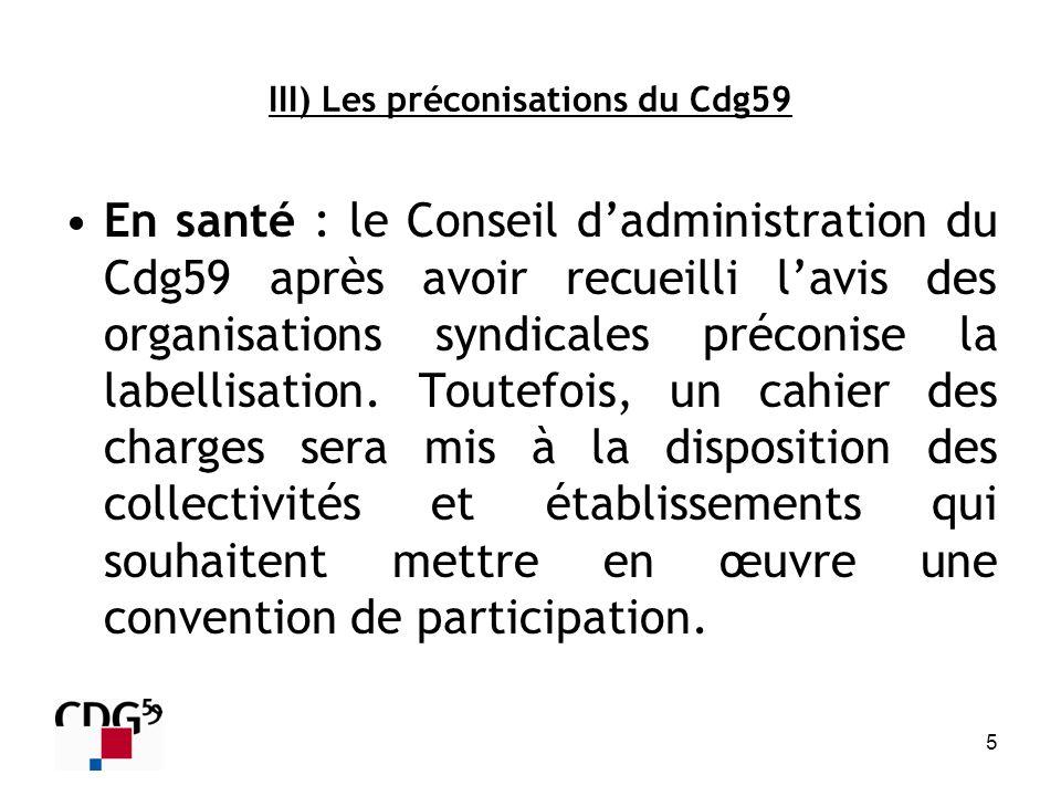 5 III) Les préconisations du Cdg59 En santé : le Conseil dadministration du Cdg59 après avoir recueilli lavis des organisations syndicales préconise l