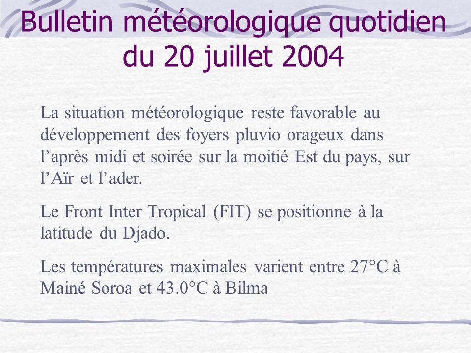 Bulletin météorologique quotidien du 20 juillet 2004 La situation météorologique reste favorable au développement des foyers pluvio orageux dans laprè