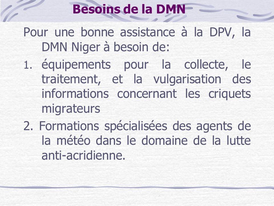 Besoins de la DMN Pour une bonne assistance à la DPV, la DMN Niger à besoin de: 1. équipements pour la collecte, le traitement, et la vulgarisation de