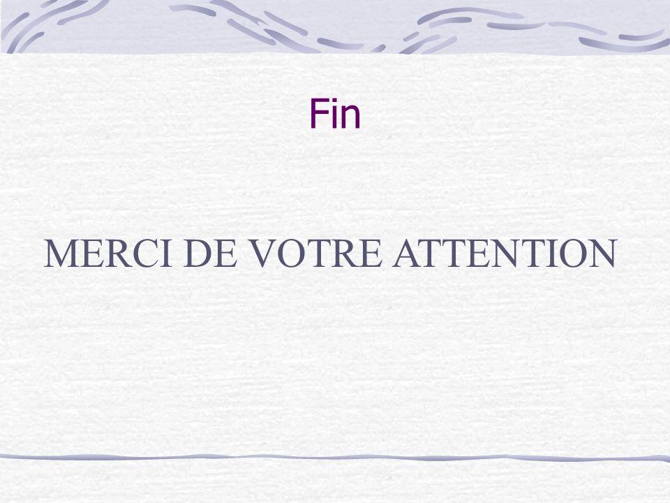 Fin MERCI DE VOTRE ATTENTION