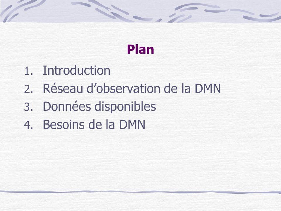 Plan 1. Introduction 2. Réseau dobservation de la DMN 3. Données disponibles 4. Besoins de la DMN