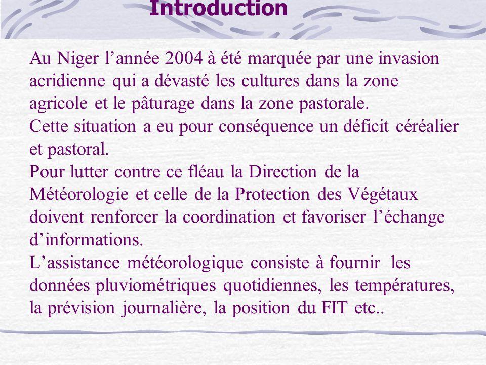 Introduction Au Niger lannée 2004 à été marquée par une invasion acridienne qui a dévasté les cultures dans la zone agricole et le pâturage dans la zo