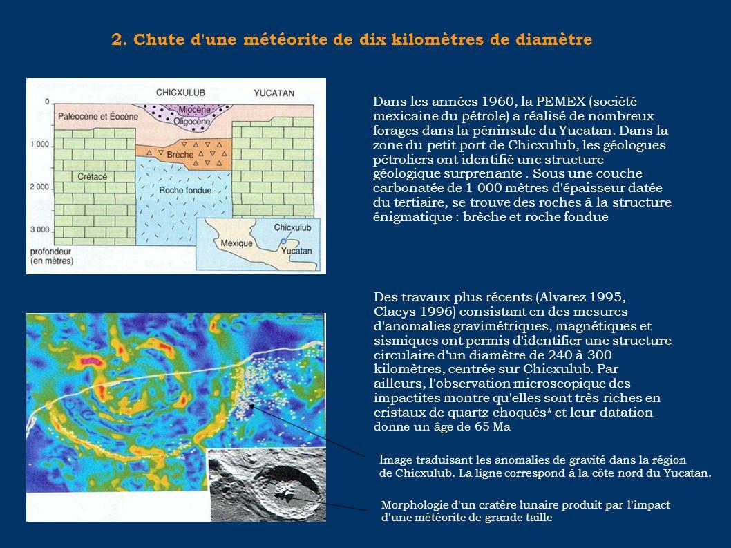 2. Chute d'une météorite de dix kilomètres de diamètre Dans les années 1960, la PEMEX (société mexicaine du pétrole) a réalisé de nombreux forages dan