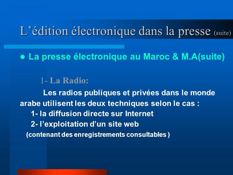 Lédition électronique dans la presse (suite) La presse électronique au Maroc & M.A(suite) 1- La Radio: Les radios publiques et privées dans le monde arabe utilisent les deux techniques selon le cas : 1- la diffusion directe sur Internet 2- lexploitation dun site web (contenant des enregistrements consultables )