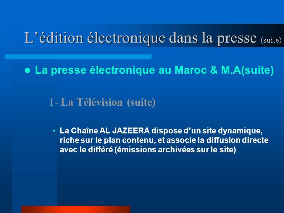 Lédition électronique dans la presse (suite) La presse électronique au Maroc & M.A(suite) 1- La Télévision (suite) La Chaîne AL JAZEERA dispose dun site dynamique, riche sur le plan contenu, et associe la diffusion directe avec le différé (émissions archivées sur le site)
