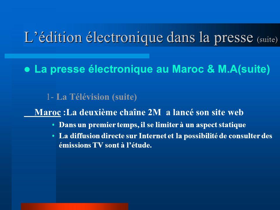 Lédition électronique dans la presse (suite) La presse électronique au Maroc & M.A(suite) 1- La Télévision (suite) Maroc :La deuxième chaîne 2M a lancé son site web Dans un premier temps, il se limiter à un aspect statique La diffusion directe sur Internet et la possibilité de consulter des émissions TV sont à létude.