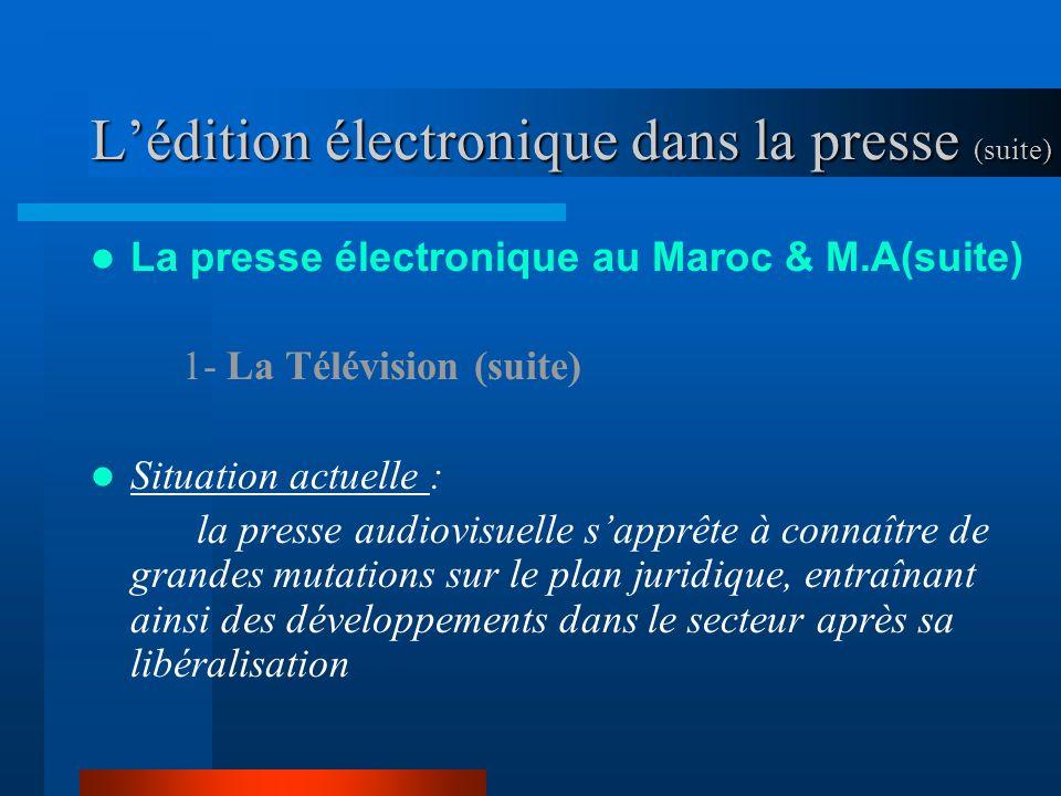 Lédition électronique dans la presse (suite) La presse électronique au Maroc & M.A(suite) 1- La Télévision (suite) Situation actuelle : la presse audiovisuelle sapprête à connaître de grandes mutations sur le plan juridique, entraînant ainsi des développements dans le secteur après sa libéralisation