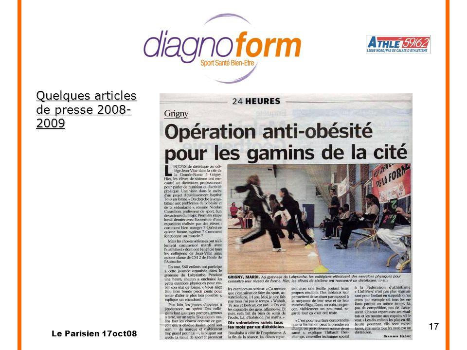 17 Quelques articles de presse 2008- 2009 Le Parisien 17oct08