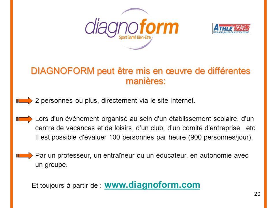 20 DIAGNOFORM peut être mis en œuvre de différentes manières: 2 personnes ou plus, directement via le site Internet. Lors d'un événement organisé au s