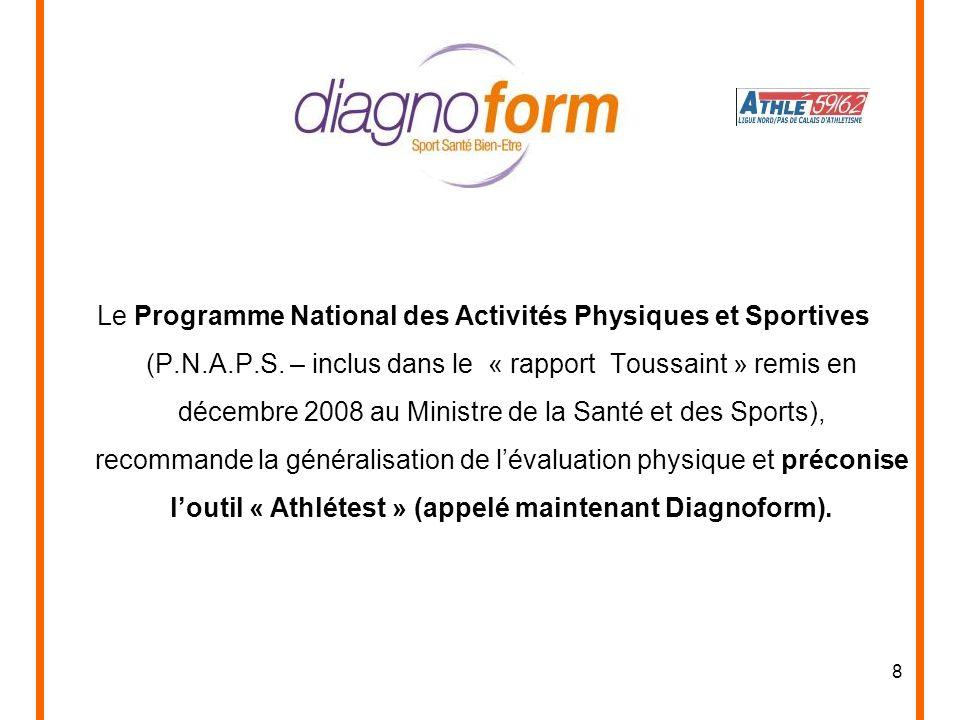 8 Le Programme National des Activités Physiques et Sportives (P.N.A.P.S. – inclus dans le « rapport Toussaint » remis en décembre 2008 au Ministre de