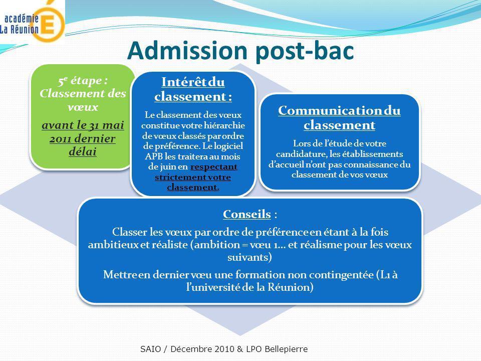5 e étape : Classement des vœux avant le 31 mai 2011 dernier délai Intérêt du classement : Le classement des vœux constitue votre hiérarchie de vœux c