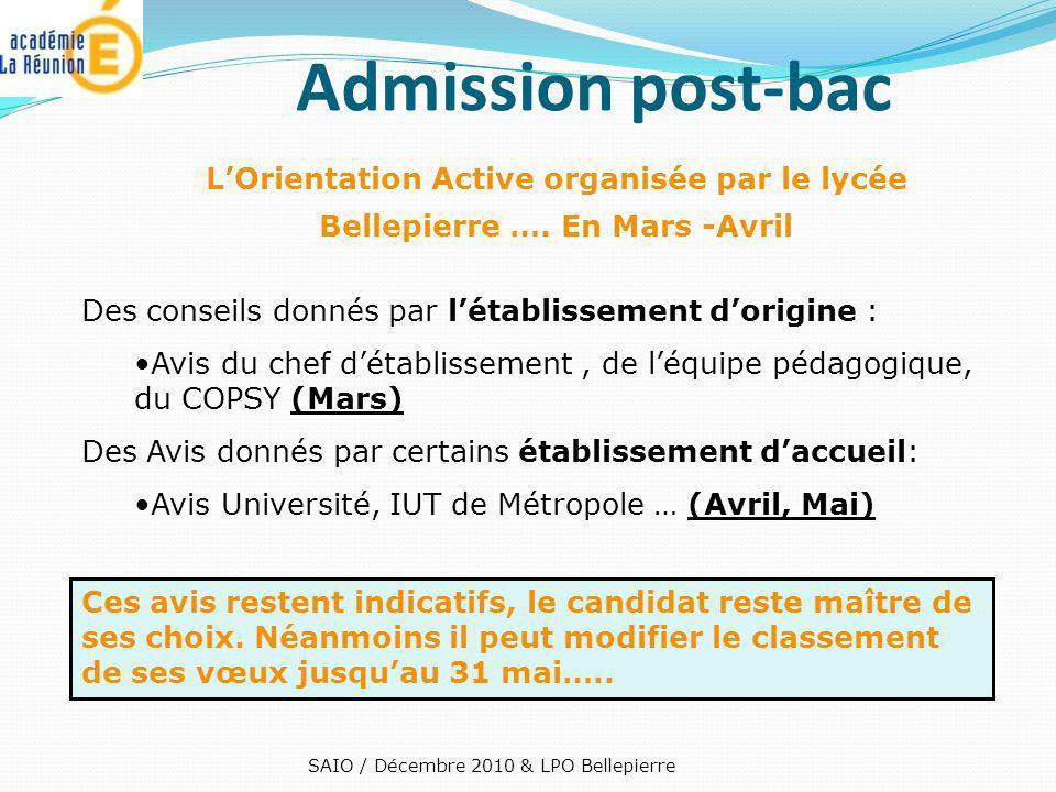 Admission post-bac LOrientation Active organisée par le lycée Bellepierre …. En Mars -Avril Des conseils donnés par létablissement dorigine : Avis du