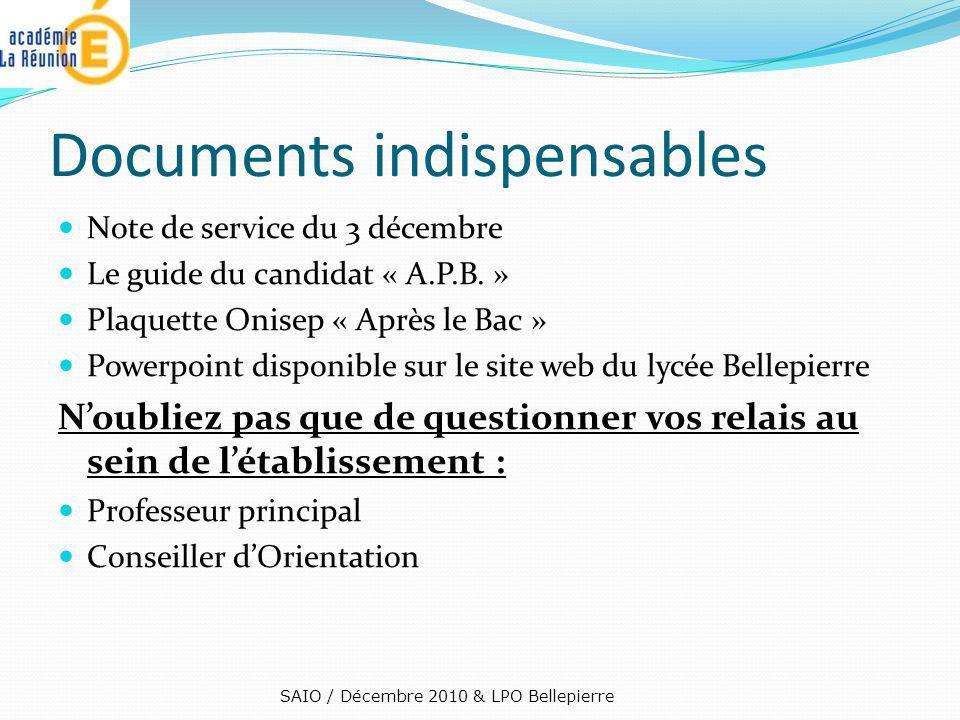 Documents indispensables Note de service du 3 décembre Le guide du candidat « A.P.B. » Plaquette Onisep « Après le Bac » Powerpoint disponible sur le