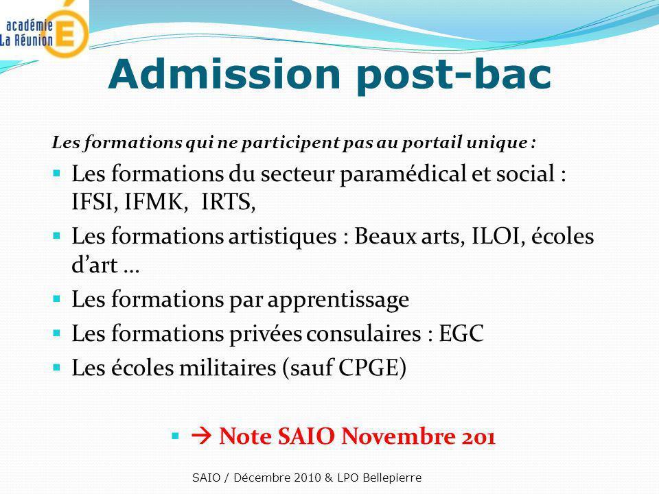 Les formations qui ne participent pas au portail unique : Les formations du secteur paramédical et social : IFSI, IFMK, IRTS, Les formations artistiqu