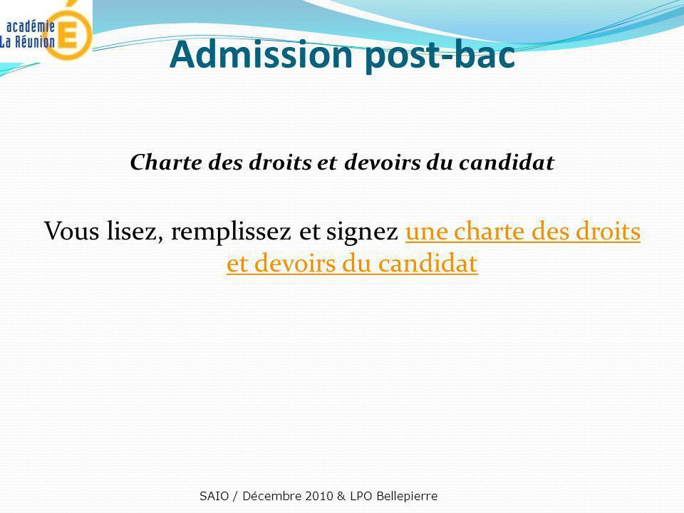 Admission post-bac Charte des droits et devoirs du candidat Vous lisez, remplissez et signez une charte des droits et devoirs du candidatune charte de
