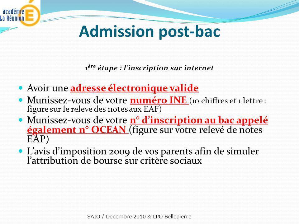 Admission post-bac 1 ère étape : linscription sur internet Avoir une adresse électronique valide Munissez-vous de votre numéro INE (10 chiffres et 1 l