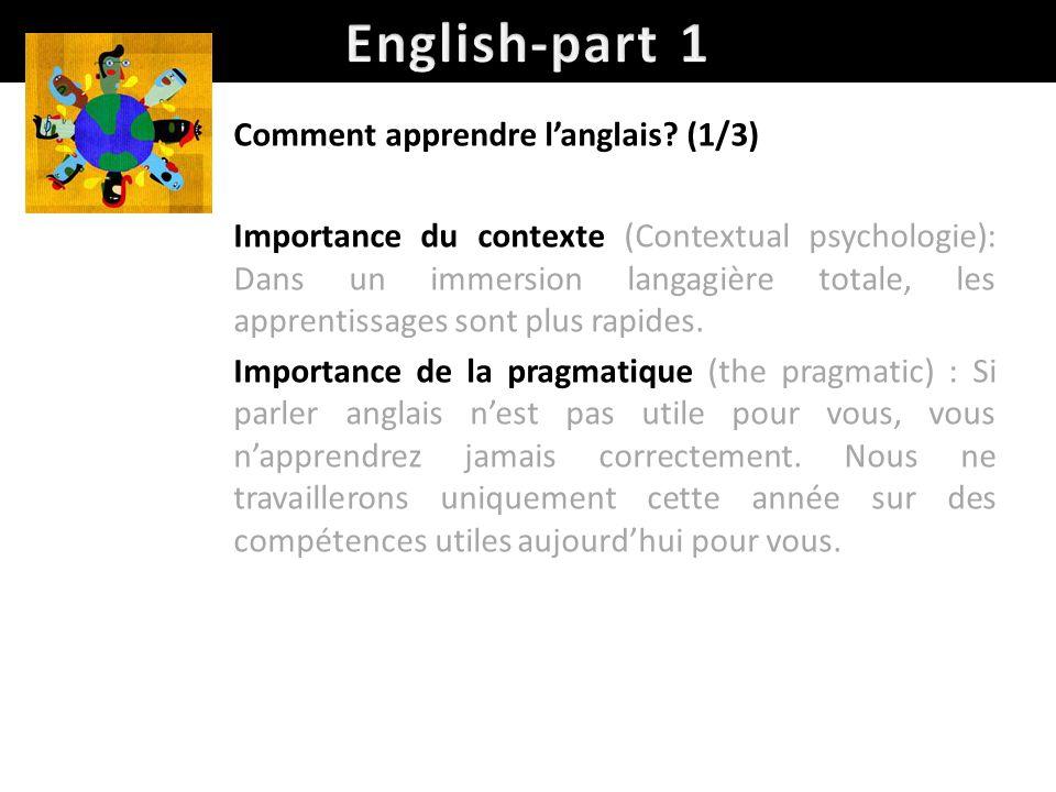 Comment apprendre langlais? (1/3) Importance du contexte (Contextual psychologie): Dans un immersion langagière totale, les apprentissages sont plus r