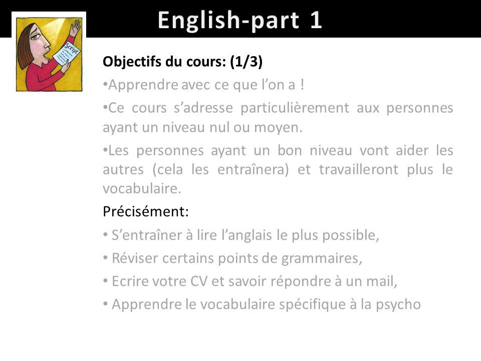 Objectifs du cours: (1/3) Apprendre avec ce que lon a .