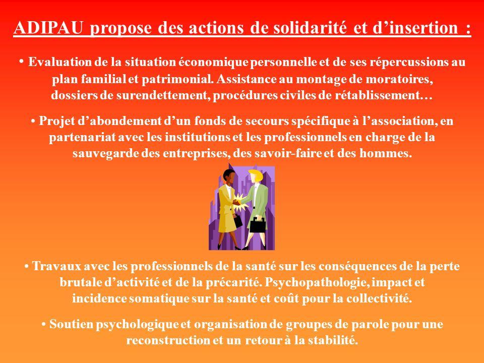ADIPAU propose des actions de solidarité et dinsertion : Evaluation de la situation économique personnelle et de ses répercussions au plan familial et patrimonial.