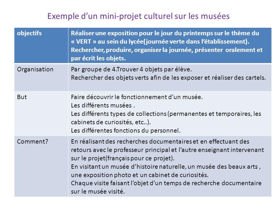 Exemple dun mini-projet culturel sur les musées objectifsRéaliser une exposition pour le jour du printemps sur le thème du « VERT » au sein du lycée(j