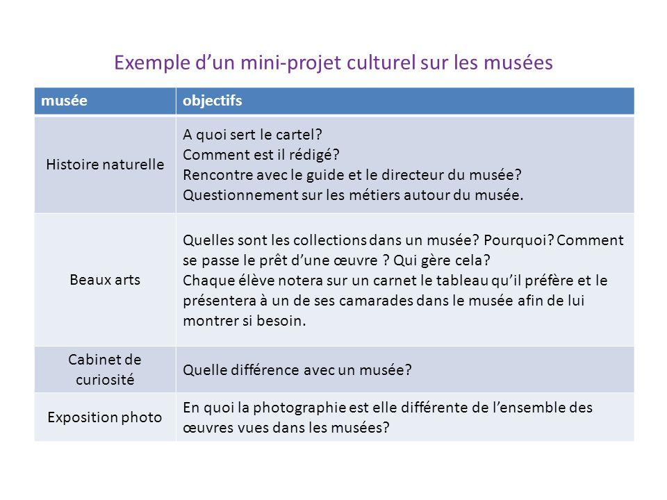 Exemple dun mini-projet culturel sur les musées muséeobjectifs Histoire naturelle A quoi sert le cartel? Comment est il rédigé? Rencontre avec le guid