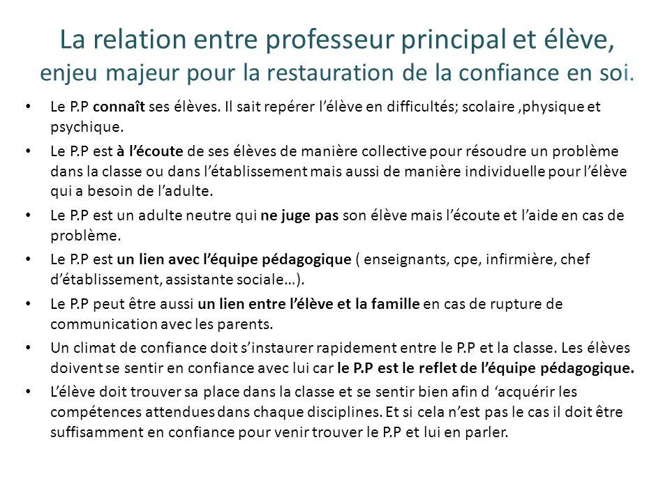 La relation entre professeur principal et élève, enjeu majeur pour la restauration de la confiance en soi. Le P.P connaît ses élèves. Il sait repérer
