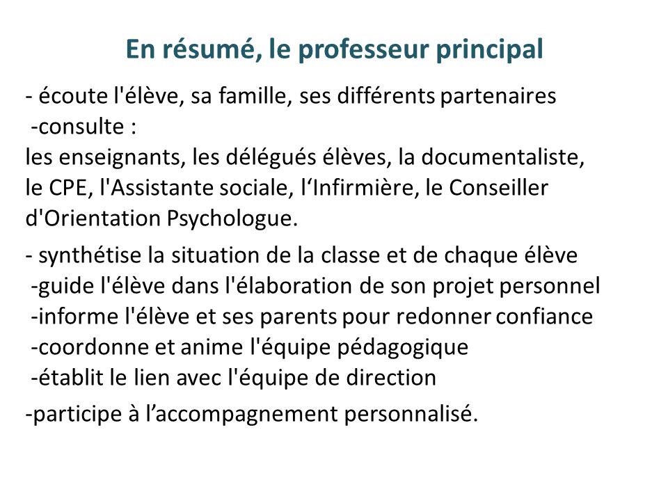En résumé, le professeur principal - écoute l'élève, sa famille, ses différents partenaires -consulte : les enseignants, les délégués élèves, la docum