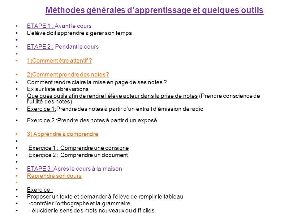 Méthodes générales dapprentissage et quelques outils ETAPE 1 : Avant le cours Lélève doit apprendre à gérer son temps ETAPE 2 : Pendant le cours 1)Com