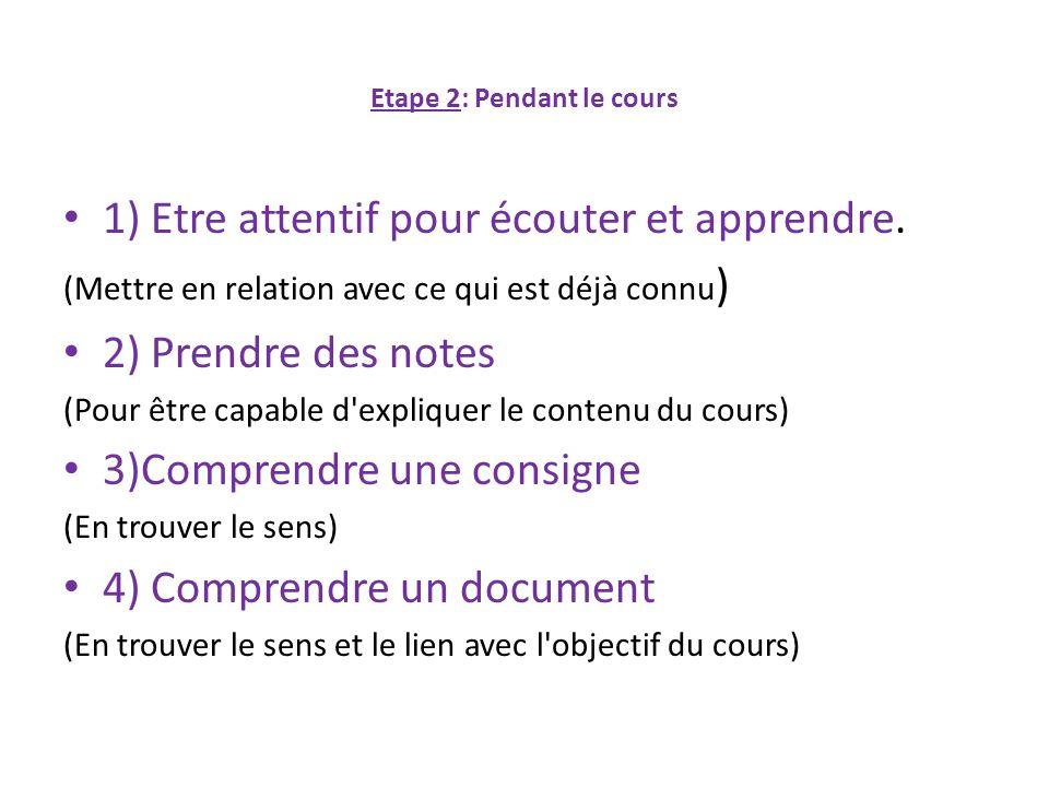 Etape 2: Pendant le cours 1) Etre attentif pour écouter et apprendre. (Mettre en relation avec ce qui est déjà connu ) 2) Prendre des notes (Pour être