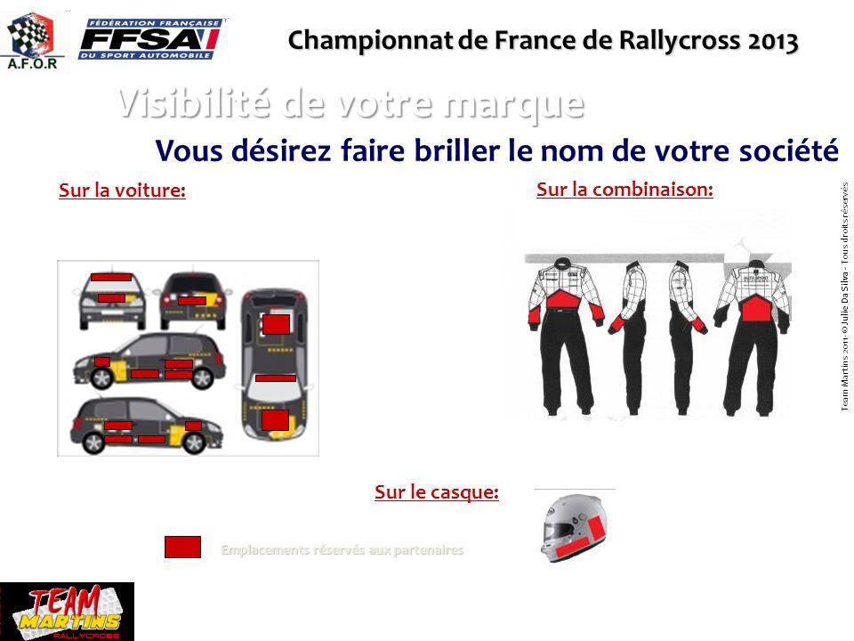 Championnat de France de Rallycross 2013 Visibilité de votre marque Sur la voiture: Sur la combinaison: Emplacements réservés aux partenaires Team Mar