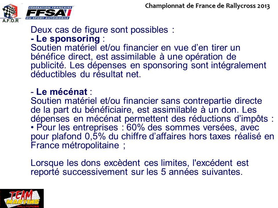 Championnat de France de Rallycross 2013 Deux cas de figure sont possibles : - Le sponsoring : Soutien matériel et/ou financier en vue den tirer un bé