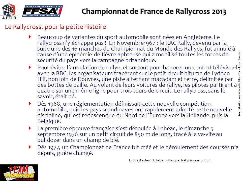 Le rallycross a de nombreuses spécificités par rapport à dautres disciplines du sport automobile Dans les manches, cinq voitures partent de front pour cinq tours dun circuit mixte, terre/bitume dun kilomètre de long.