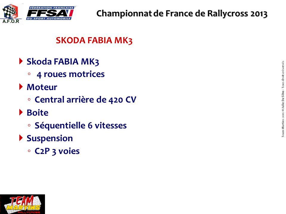 Championnat de France de Rallycross 2013 Team MARTINS Nous avons créé en 2005 le Team MARTINS, Association Loi 1901, qui a pour but de participer au Championnat de France de Rallycross chaque année et de suivre la progression de notre équipe sur les pistes.
