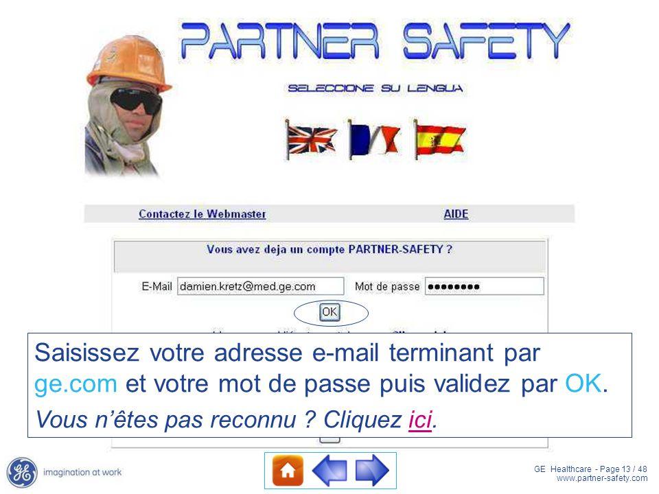 GE Healthcare - Page 13 / 48 www.partner-safety.com Saisissez votre adresse e-mail terminant par ge.com et votre mot de passe puis validez par OK. Vou