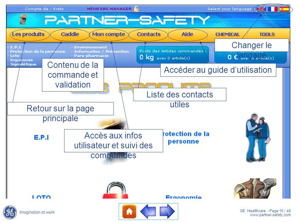 GE Healthcare - Page 15 / 48 www.partner-safety.com Changer le langage Accéder au guide dutilisation Liste des contacts utiles Retour sur la page prin