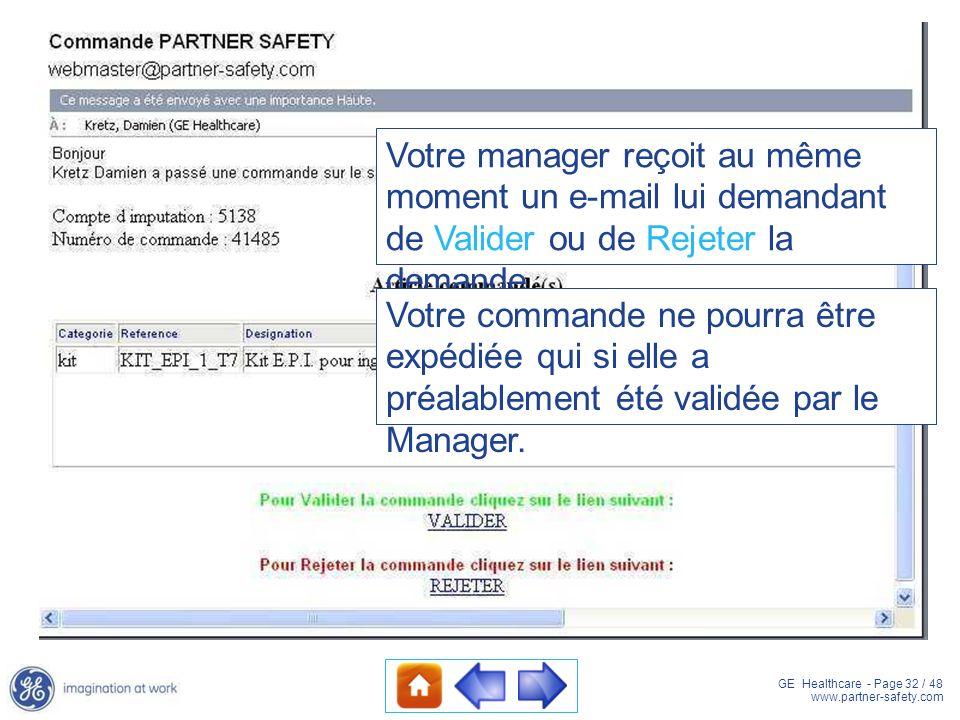 GE Healthcare - Page 32 / 48 www.partner-safety.com Votre manager reçoit au même moment un e-mail lui demandant de Valider ou de Rejeter la demande. V