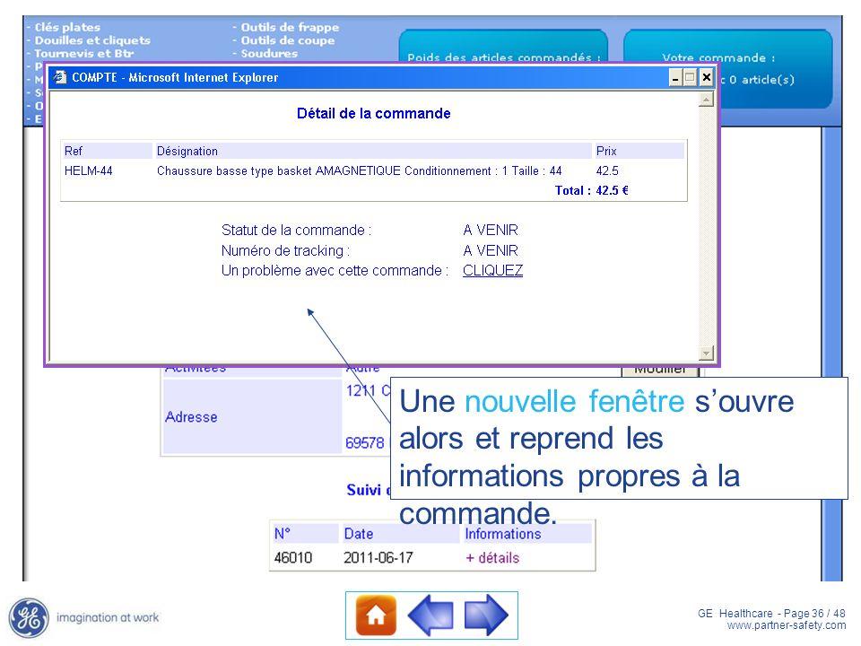 GE Healthcare - Page 36 / 48 www.partner-safety.com Une nouvelle fenêtre souvre alors et reprend les informations propres à la commande.