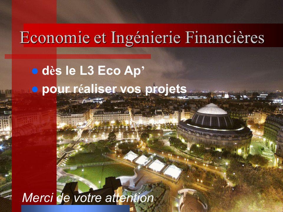 Economie et Ingénierie Financières d è s le L3 Eco Ap pour r é aliser vos projets Merci de votre attention