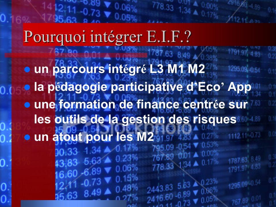 Pourquoi intégrer E.I.F.? un parcours int é gr é L3 M1 M2 la p é dagogie participative d Eco App une formation de finance centr é e sur les outils de