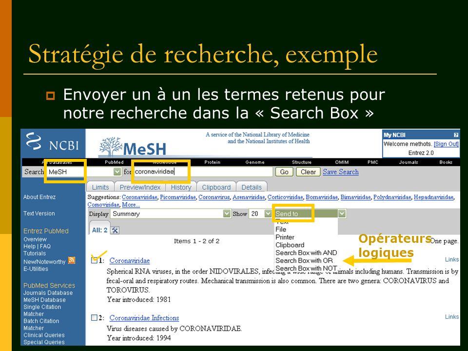 Stratégie de recherche, exemple Opérateurs logiques Envoyer un à un les termes retenus pour notre recherche dans la « Search Box »