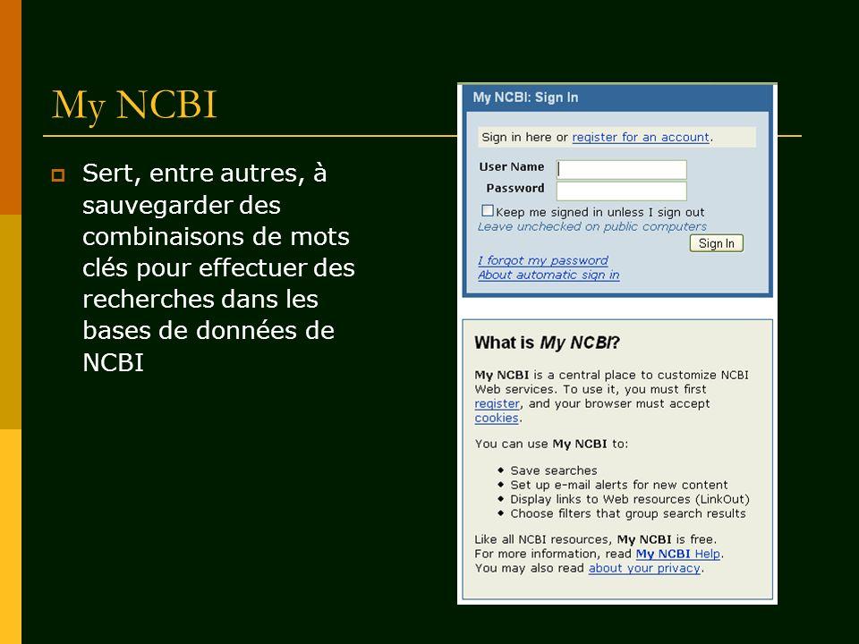 My NCBI Sert, entre autres, à sauvegarder des combinaisons de mots clés pour effectuer des recherches dans les bases de données de NCBI